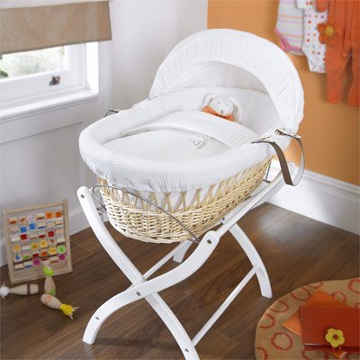 Izziwotnot White Gift Wicker Moses Basket, Natural