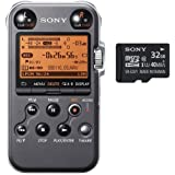 Sony PCM-M10 Portable Audio Recorder (Black) With extra Sony 32GB microSDHC Class 10 UHS-1 Memory Card with microSD Adapter