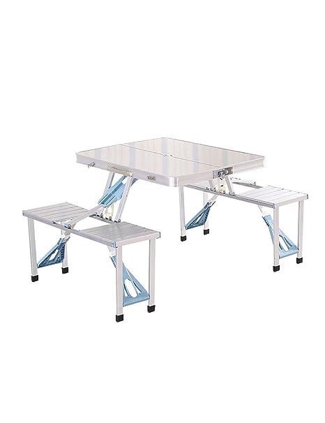 Al aire libre portátil de aluminio plegable mesa y silla Kit Picnic mesa de la parrilla Mesa portátil