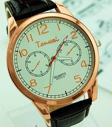 SunShine Day High Quality Golden Leather Strap Watches / Men Women Wristwatches Waterproof Quartz Watches Women Dress Watches