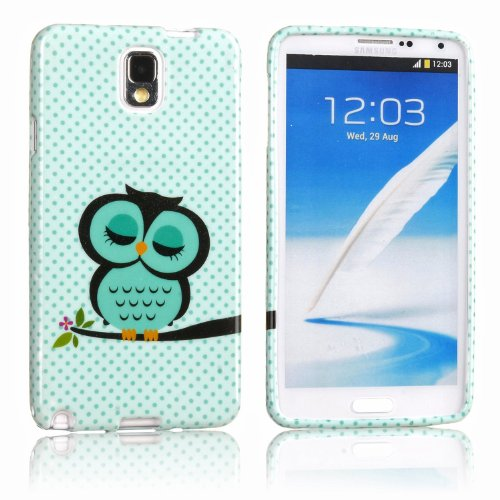 2IN1 Mobile Phone Accessory For Samsung Galaxy Note 3 N9000 Soft TPU Silicone Back Case Cover Protection Protective Skin Shell Night Owl Polka Dot + 1x Stylus Touch Pen (Flexible color)- Green White Cute Cartoon OWL on the Tree Branch