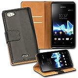 OneFlow PREMIUM - Book-Style Case im Portemonnaie Design mit Stand-Funktion - für Sony Xperia J - SCHWARZ