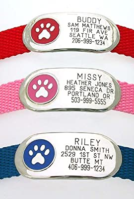 Jewelry Collar Tag - Custom engraved pet ID tag - Perfect for Dogs or Cats - Durable and Silent - Attaches flat to any collar!