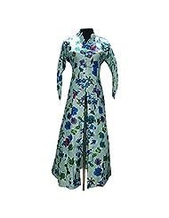 Off White Light Floral Print Bhagalpuri Silk Designer Kurti Semi Stitched