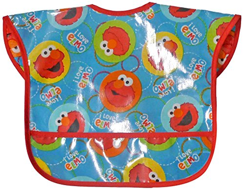 Sesame Street Easy Wipe Toddler Bibs, Blue/Red
