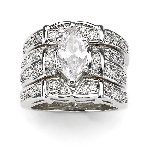 Silvertone Marquise-Cut and Round DiamonUltra™ Cubic Zirconia Wedding Ring Set