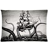 Fashion Pillow CoverCustom Kraken Octopus and Sailboat Home Decorative Pillowcase Pillow Case Cover 20*30 Two Sides Print
