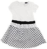Sweet & Soft Little Girls' Lace Dress With Polka Dots and Bow, Black, 3T