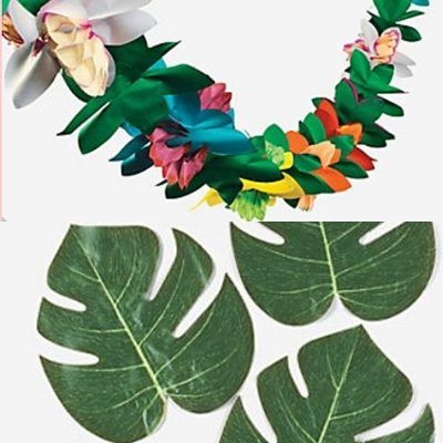 Luau Lot - 12 Tropical Leaves and Tropical Tissue Garland Set