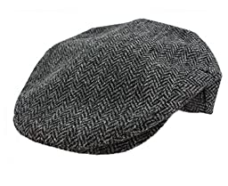 John Hanly & Co. Irish Tweed Flat Cap - Grey Herringbone - Medium
