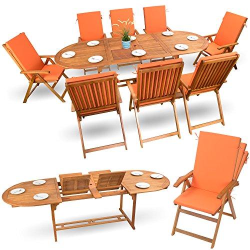 17-tlg-Sitzgruppe-Gartenmbel-Set-Holzmbel-Essgarnitur-Holz-Sitzgarnitur-Akazie-gelt-8x-verstellbarer-Klappstuhl-1x-ausziehbarer-Klapptisch-8x-Sitz-Auflagen-orange