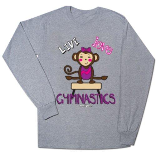 Gymnastics Maisy Monkey Long Sleeve Tee Heather Gray Medium front-186633
