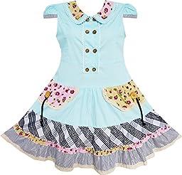 Sunny Fashion Big Girls Dress Cute Colorful Collar Back School, Blue, 11-12