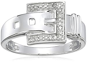 10k White Gold Diamond-Accent Buckle Ring, Size 7