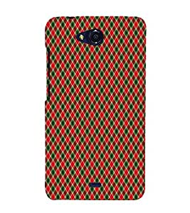 Red checkes 3D Hard Polycarbonate Designer Back Case Cover for Micromax Canvas Play Q355