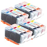 4 Compatible C/M/Y Sets of 3 Canon CLI-521 Colour Chipped Printer Ink Cartridges (12 Inks) - Cyan / Magenta / Yellow for Canon Pixma iP3600, iP4600, iP4700, MP540, MP550, MP560, MP620, MP630, MP640, MP980, MP990, MX860, MX870