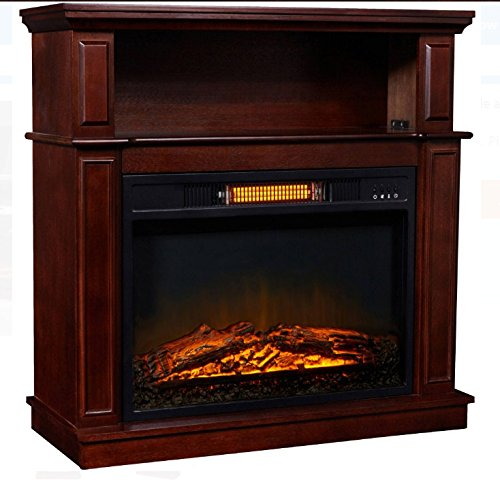 Infrared Decor Flame Electric Fireplace with Digital Temperature Adjustment, Quiet Fan with 32