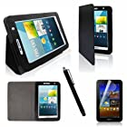 SQdeal® Classic Black Folio Flip Pu Leather Case Cover Stand for Samsung Galaxy Tab 2 7.0 P3100 P3110 P3113,with Stylus Pen and Screen Protector