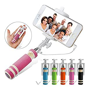 AYAMAYA Foldable Mini Selfie Stick, [Pen-size] Handheld Extendable Wired [Free Battery] Self-portrait Monopod with Univeral Phone Holder for iPhone 6/6 Plus/5s, Galaxy Note5/4 and More(Pink)