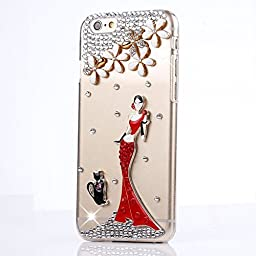 iPhone 6S Plus Case, STENES Luxurious Crystal 3D Handmade Sparkle Diamond Rhinestone Clear Cover with Retro Bowknot Anti Dust Plug - Black Cat Sexy Women Flowers / Red