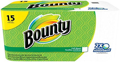 Bounty Paper Towels, White, 15 Regular Rolls