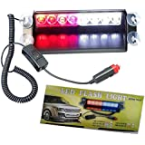 ZHOL® 8 LED Visor Dashboard Emergency Strobe Lights Red/white