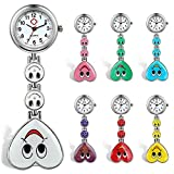 Lancardo Candy Color Smile Heart Face Nurse Clip Watch Medical Lapel Pocket Clasp Watch(7 colors) (Pack of 7)