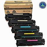 5PK V4INK ® (2Black/Cyan/Magenta/Yellow) Compatible CF210A,CF211A,CF212A,CF213A (131A) Toner Cartridge for Laserjet Pro M251 M276 Toner Printers