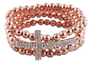 2 Pieces of Rose Gold Iced Out Sideways Cross Style Beaded Stretch Bundle Bracelet