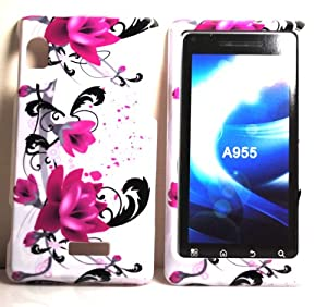 Purple Rose Flower Design Snap on Hard Skin Shell Protector Faceplate Cover Case for Motorola Droid 2 Droid2 A955 + Microfiber Pouch Bag