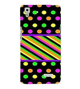 PrintVisa Polka Dots & Stripes Pattern 3D Hard Polycarbonate Designer Back Case Cover for Oppo R7