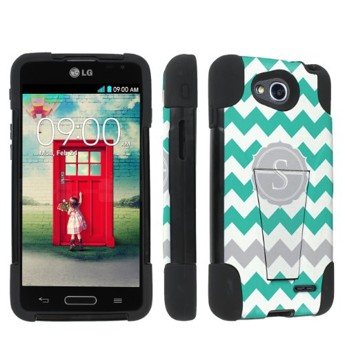 Skinguardz Lg Optimus L90 Heavy Duty Armor Kickstand Case - (Mint Chevron Monogram Initial S) back-395734