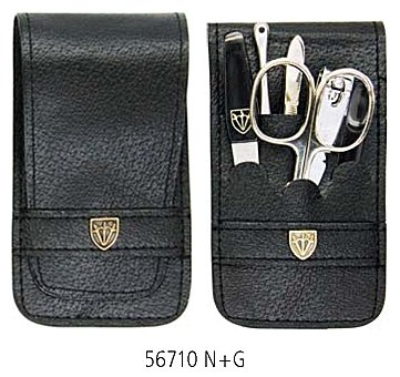 3 Swords - 5 Piece Manicure & Pedicure Case, made of high quality artificial Leather, Grade: Made in Solingen