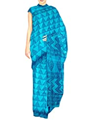Unnati Silks Women Pure Handloom Tusser Silk Printed Blue Saree - B00OUHHZKW