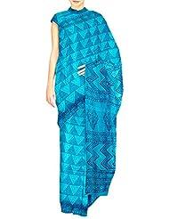 Unnati Silks Women Pure Handloom Tusser Silk Printed Blue Saree - B00OUHHZKW