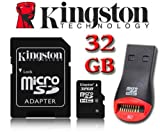 Kingston 32GB Micro SD Micro SDHC Memory Card With SD Adapter For Tesco Hudl, Hudl 2 Tablet, Sony Xperia Tablet Z Wi-Fi Tablet, HP Hewlett Packard Slate 7 Tablet, Archos 101 Tablet, Motorola XOOM MZ604 Tablet, Prestigio MultiPad PMP5080B Tablet, Medion L