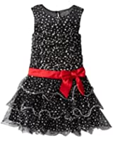 Bonnie Jean Little Girls' Tiered Mesh Dot Illusion Dress