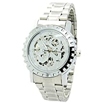 E-future Winner New Skeleton Classic Full Silver Steel Mens Automatic Mechanical Watch