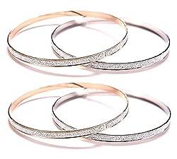 Sorella'z Combo of Double Circle Matte Silver & Golden Bangles for Women (Two Piece each)