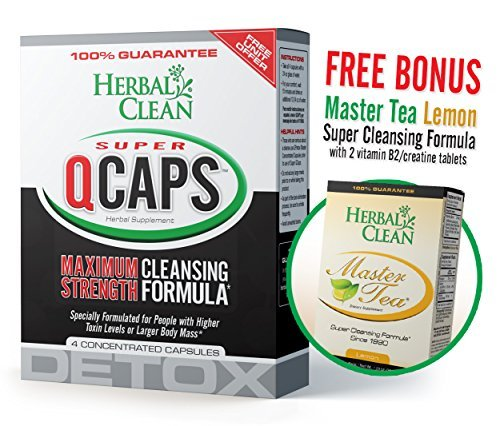 Bundle - 2 Items Fast Detox (1) Super QCaps 4 ct. & (1) Master Tea W/ Creatine Tablets by Herbal Clean - For Ultimate Quick Emergency Detoxification + Pre & Post Detox With Master Tea To Get Absolutely Clean Today - Detoxify Safe with Herbal All Natural I
