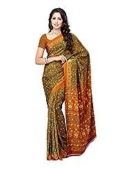 Fabdeal Brown Crepe Printed Saree Sari Sarees