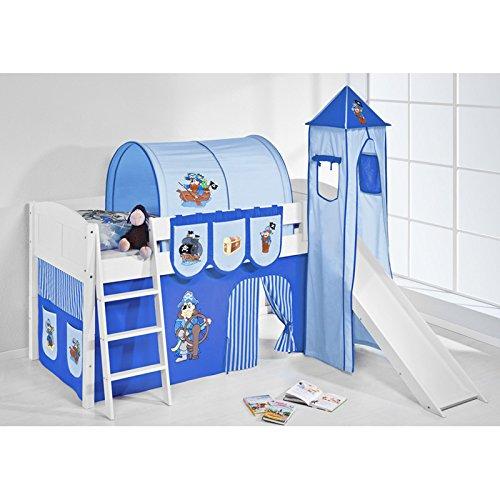 Hochbett Spielbett IDA Pirat Blau, mit Turm, Rutsche und Vorhang, weiß jetzt kaufen