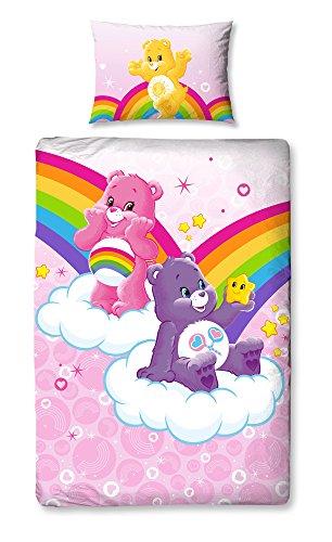 Care Bears Belltex-Set copripiumino matrimoniale, in poliestere e cotone, motivo floreale, multicolore, singolo