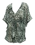 La Leela Sheer Chiffon Animal Skin Print Lace Worked V-Neck Beach Swim Cover up