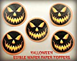 """12 HALLOWEEN SPOOKY JACK O LANTERN PUMPKIN CARVED FACES PRECUT EDIBLE CAKE TOPPERS 1.5"""" SMALL Dozen Set - Cake, Cookie, Lollipop and Cupcake Toppers, Decorations for Children's Birthdays Party Supplies"""