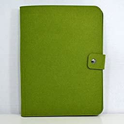 Chris-Wang Multi-Use Wool Felt A4 File Folder/Business Padfolio Document Holder/Cellphone Pockets/Pen Holder/School Project Organizer/Card Pouch with Snap Button, Green