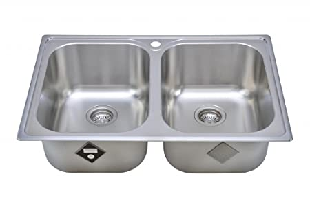 Wells Sinkware GLT3322-99LG 18-Gauge Double Bowl Top-Mount Kitchen Sink, Stainless Steel