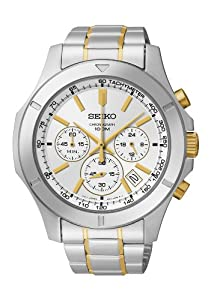 Seiko Men's Quartz Watch with Silver Dial Chronograph Display and Silver Stainless Steel Bracelet SSB107P1