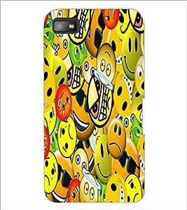 PrintDhaba Emoticons D-5581 Back Case Cover for BLACKBERRY Z10 (Multi-Coloured)