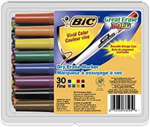 BIC Great Erase Bold Color Dry Erase Marker, Fine Point, Assorted Colors, 30 Dry Erase Markers